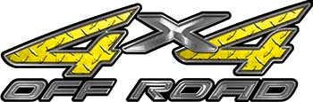 4x4 Off Road ATV Truck or SUV Decals in Yellow Diamond Plate