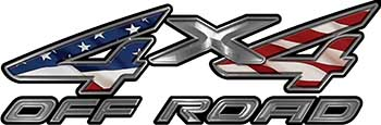 4x4 Off Road ATV Truck or SUV Decals with American Flag