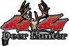 Deer Hunter Twisted Series 4x4 Truck Bedside or Fender Emblem Decals in Red Diamond Plate
