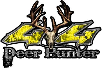 Deer Hunter Twisted Series 4x4 Truck Bedside or Fender Emblem Decals in Yellow Inferno