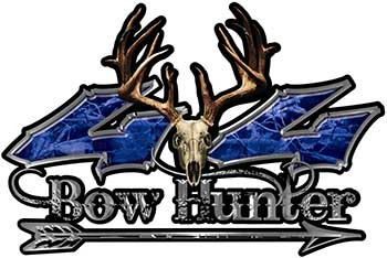 Bow Hunter Twisted Series 4x4 Truck Decal Kit with Arrow in Blue Camouflage