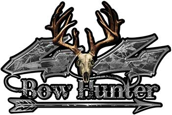 Bow Hunter Twisted Series 4x4 Truck Decal Kit with Arrow in Gray Camouflage