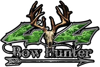 Bow Hunter Twisted Series 4x4 Truck Decal Kit with Arrow in Green Camouflage