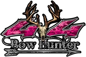Bow Hunter Twisted Series 4x4 Truck Decal Kit with Arrow in Pink Camouflage