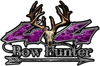 Bow Hunter Twisted Series 4x4 Truck Decal Kit with Arrow in Purple Camouflage