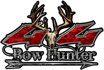 Bow Hunter Twisted Series 4x4 Truck Decal Kit with Arrow in Red Camouflage