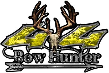 Bow Hunter Twisted Series 4x4 Truck Decal Kit with Arrow in Yellow Camouflage