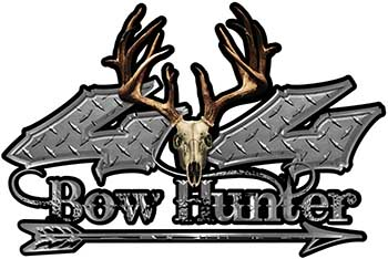 Bow Hunter Twisted Series 4x4 Truck Decal Kit with Arrow in Diamond Plate