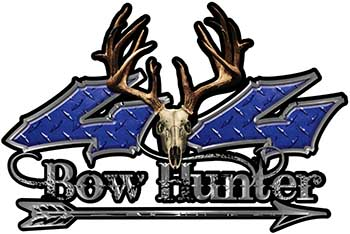 Bow Hunter Twisted Series 4x4 Truck Decal Kit with Arrow in Blue Diamond Plate