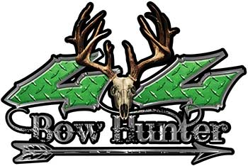 Bow Hunter Twisted Series 4x4 Truck Decal Kit with Arrow in Green Diamond Plate