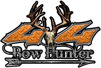 Bow Hunter Twisted Series 4x4 Truck Decal Kit with Arrow in Orange Diamond Plate