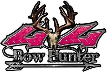 Bow Hunter Twisted Series 4x4 Truck Decal Kit with Arrow in Pink Diamond Plate