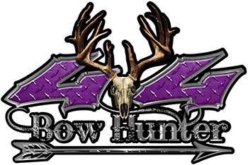 Bow Hunter Twisted Series 4x4 Truck Decal Kit with Arrow in Purple Diamond Plate