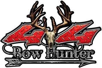 Bow Hunter Twisted Series 4x4 Truck Decal Kit with Arrow in Red Diamond Plate