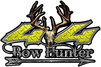 Bow Hunter Twisted Series 4x4 Truck Decal Kit with Arrow in Yellow Diamond Plate