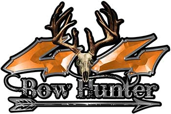 Bow Hunter Twisted Series 4x4 Truck Decal Kit with Arrow in Orange