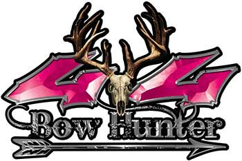 Bow Hunter Twisted Series 4x4 Truck Decal Kit with Arrow in Pink