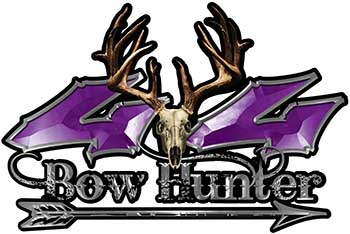 Bow Hunter Twisted Series 4x4 Truck Decal Kit with Arrow in Purple