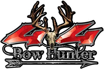 Bow Hunter Twisted Series 4x4 Truck Decal Kit with Arrow in Red