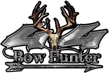 Bow Hunter Twisted Series 4x4 Truck Decal Kit with Arrow in Silver
