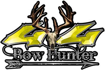 Bow Hunter Twisted Series 4x4 Truck Decal Kit with Arrow in Yellow