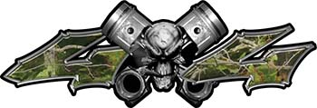 Twin Piston with Crazy Skull 4x4 ATV Truck or SUV Decals in Camouflage