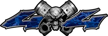 Twin Piston with Crazy Skull 4x4 ATV Truck or SUV Decals in Blue Camouflage