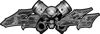 Twin Piston with Crazy Skull 4x4 ATV Truck or SUV Decals in Gray Camouflage