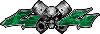 Twin Piston with Crazy Skull 4x4 ATV Truck or SUV Decals in Green Camouflage