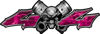 Twin Piston with Crazy Skull 4x4 ATV Truck or SUV Decals in Pink Camouflage