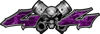 Twin Piston with Crazy Skull 4x4 ATV Truck or SUV Decals in Purple Camouflage