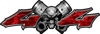 Twin Piston with Crazy Skull 4x4 ATV Truck or SUV Decals in Red Camouflage