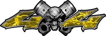 Twin Piston with Crazy Skull 4x4 ATV Truck or SUV Decals in Yellow Camouflage