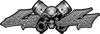 Twin Piston with Crazy Skull 4x4 ATV Truck or SUV Decals in Diamond Plate