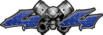 Twin Piston with Crazy Skull 4x4 ATV Truck or SUV Decals in Blue Diamond Plate