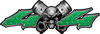 Twin Piston with Crazy Skull 4x4 ATV Truck or SUV Decals in Green Diamond Plate