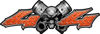 Twin Piston with Crazy Skull 4x4 ATV Truck or SUV Decals in Orange Diamond Plate
