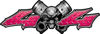 Twin Piston with Crazy Skull 4x4 ATV Truck or SUV Decals in Pink Diamond Plate