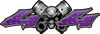 Twin Piston with Crazy Skull 4x4 ATV Truck or SUV Decals in Purple Diamond Plate
