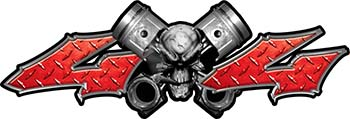 Twin Piston with Crazy Skull 4x4 ATV Truck or SUV Decals in Red Diamond Plate