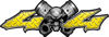 Twin Piston with Crazy Skull 4x4 ATV Truck or SUV Decals in Yellow Diamond Plate