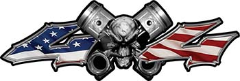Twin Piston with Crazy Skull 4x4 ATV Truck or SUV Decals with American Flag