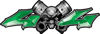 Twin Piston with Crazy Skull 4x4 ATV Truck or SUV Decals in Green