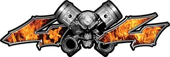 Twin Piston with Crazy Skull 4x4 ATV Truck or SUV Decals in Inferno Flames