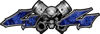 Twin Piston with Crazy Skull 4x4 ATV Truck or SUV Decals in Blue Inferno Flames