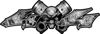Twin Piston with Crazy Skull 4x4 ATV Truck or SUV Decals in Gray Inferno Flames