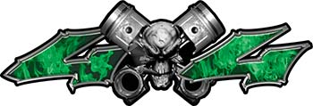Twin Piston with Crazy Skull 4x4 ATV Truck or SUV Decals in Green Inferno Flames