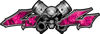 Twin Piston with Crazy Skull 4x4 ATV Truck or SUV Decals in Pink Inferno Flames
