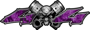 Twin Piston with Crazy Skull 4x4 ATV Truck or SUV Decals in Purple Inferno Flames
