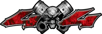 Twin Piston with Crazy Skull 4x4 ATV Truck or SUV Decals in Red Inferno Flames
